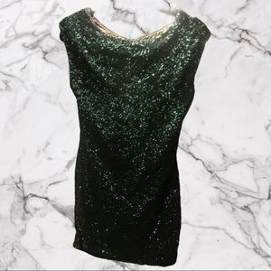 Alice and Olivia emerald sequin party dress